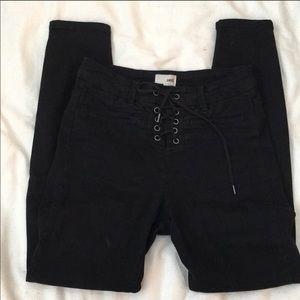 Black lace up amuse society soho jeans